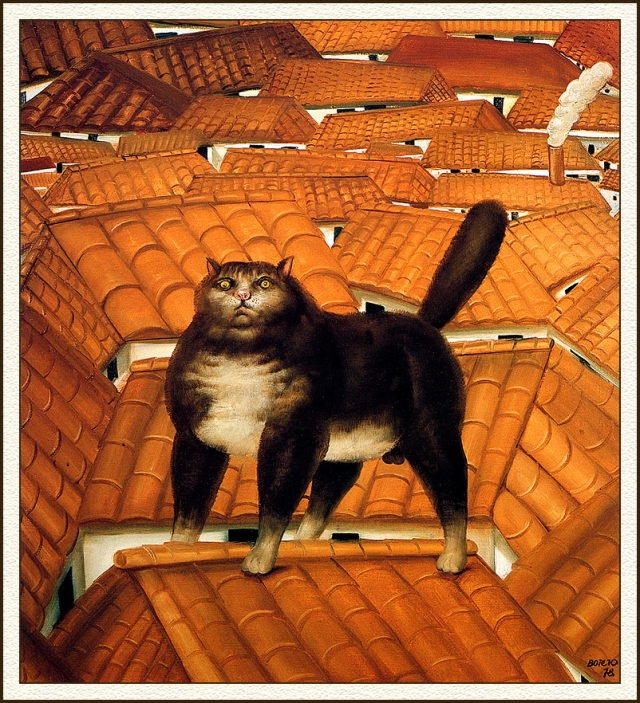 Cat on a Roof - Fernando Botero